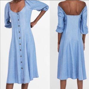 BNWT Zara off shoulder chambray dress